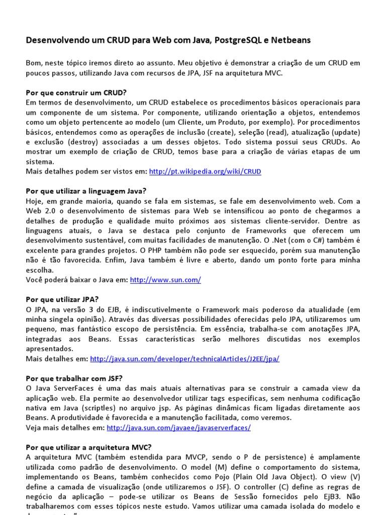 Desenvolvendo Um Crud Para Web Com Java, Postgresql E Netbeans