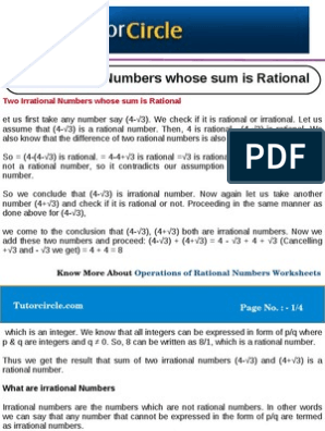 Two Irrational Numbers Whose Sum is Rational | Numbers