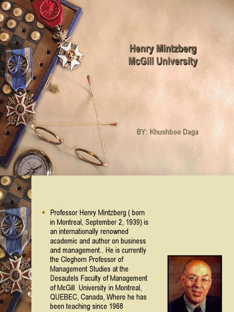 Presentation on Henry Mintzberg-khushboo Daga | Strategic Management |  Massachusetts Institute Of Technology