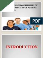 Duties and Responsibilities of Various Category of Nursing