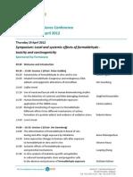 2nd International Formaldehyde Science Conference  - April 19-20, Madrid 2012