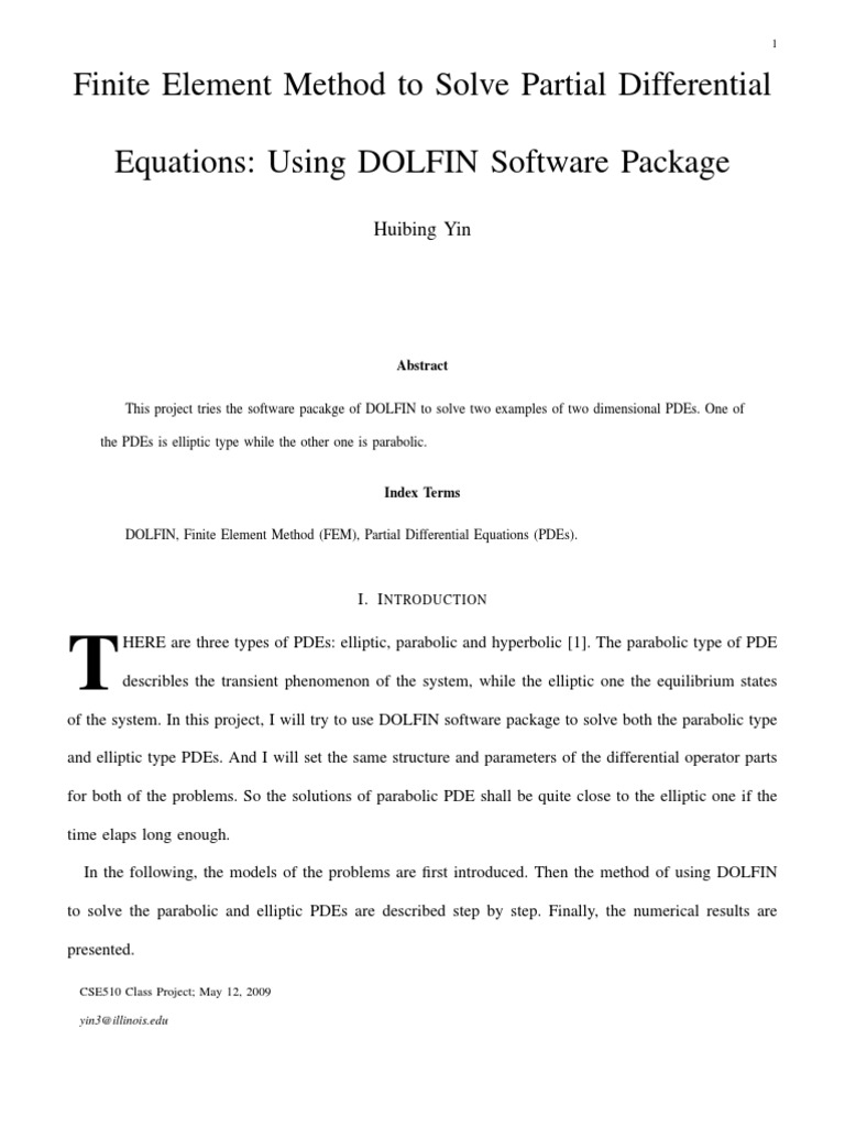 DOLFIN for Solving PDE With FE | Partial Differential Equation