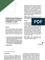 Instituciones Políticas y Participación Social en el Espacio Local, revista austral de Ciencias sociales.