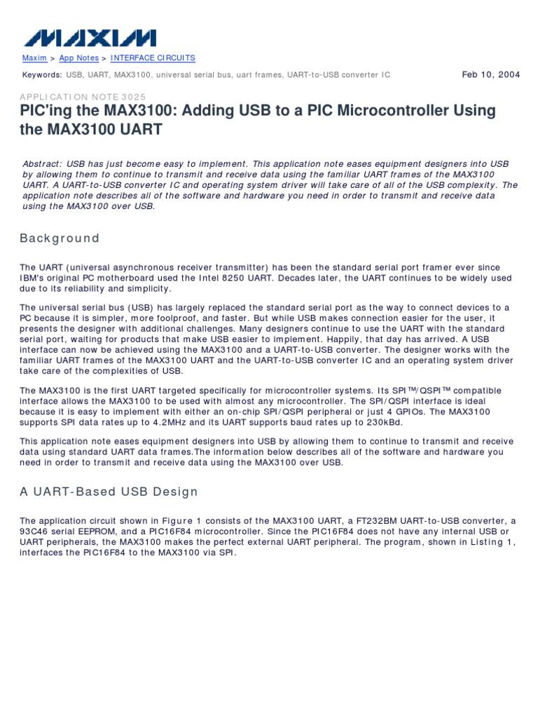 Datasheet 1 Usb Device Driver To Spi Converter