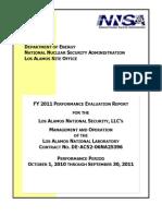 FY 2011 Los Alamos National Laboratory Performance Evaluation