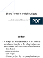 Short Term Financial Budgets and Corporate Finance
