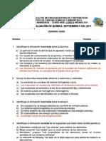 2011 - Nivel Cero Verano QUIMICA B VERSION 0 Tercer Examen