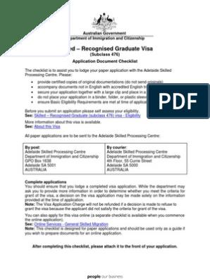 476 Checklist Travel Visa Birth Certificate