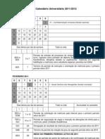 Calendário Universitário 2011-2012