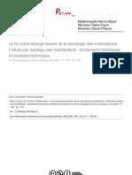 Favre, Fillieule and Mayer (1997) L'Etude Par Sondage Des Manifest Ants