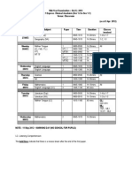 2012 SA1 Timetable as at 5 April 2012 Updated