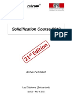 Solidification Course 2012 Announcement