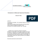 Intro 2 Molecular Dynamics Simulation by MP Allen
