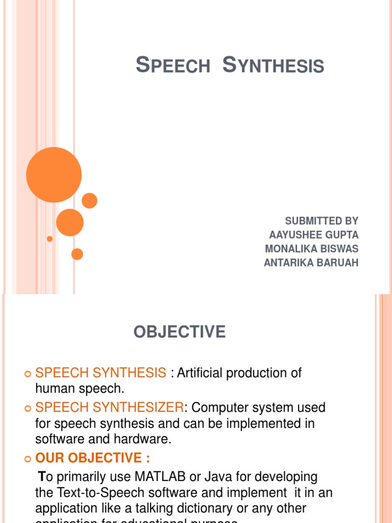 Speech Synthesis | Speech Synthesis | Application Programming Interface
