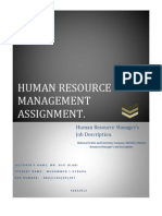 HUMAN RESOURCE MANAGER'S JOB DISCRIPTION SAMPLE