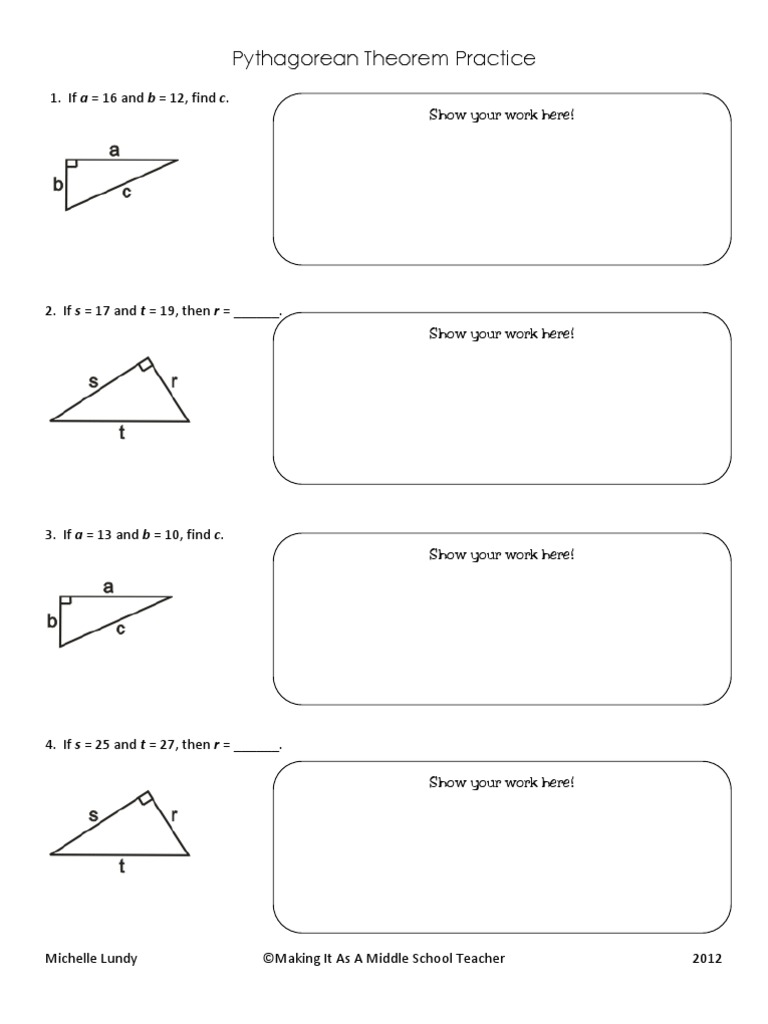 worksheet Pythagorean Theorem Practice Gabrieltoz Worksheets for – Pythagorean Theorem Worksheet 8th Grade