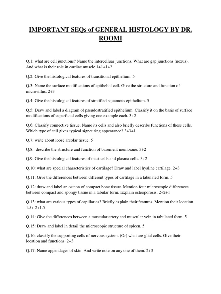 Important SEQs of General Histology for 1st Year Mbbs Students by Dr ...