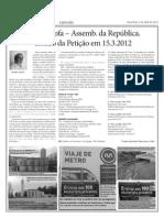 2671- 3.4.2012 - METRO TROFA -Assemb. da República- Estado da Petição em 15.3.12