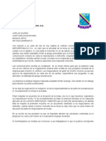 Contestacion a comunicado de empresa 5 abril 2012