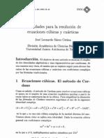 IDENTIDADES PARA LA RESOLUCIÓN DE ECUACIONES CÚBICAS Y CUÁRTICAS [José Saenz]
