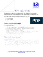 Incorporation of a Company in India