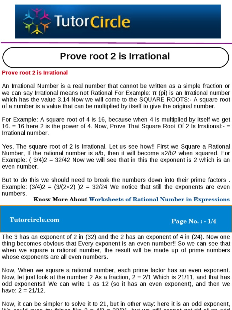 Prove Root 2 Is Irrational Fraction Mathematics Numbers