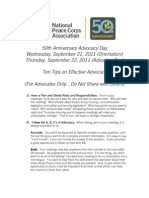 Peace Corps Ten Advocacy Tips -not for sharing