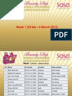 34th Anniversary Beauty Dip Week 5 Winner List