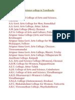 List of Arts & Science college in Tamilnadu