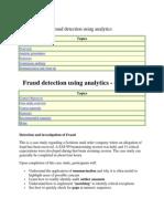 Fraud Detection Using Analytics