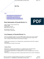 Lincoln Electric Co - Summary
