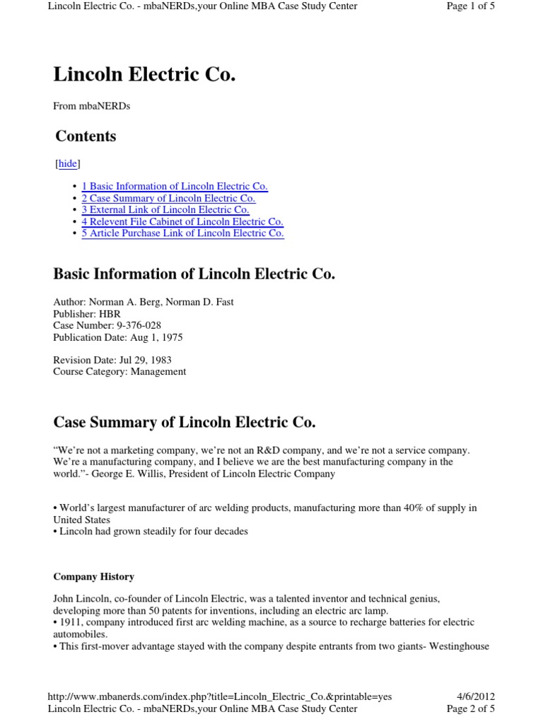 case 12 lincoln electric aligning for global growth