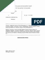 SRI International, Inc. v. Symantec Corporation, C.A. No. 11-131-SLR (D. Del. Mar. 30, 2012).