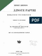 Brugsch, A Henry Rhind's Zwie Bilingue Papyri, 1865