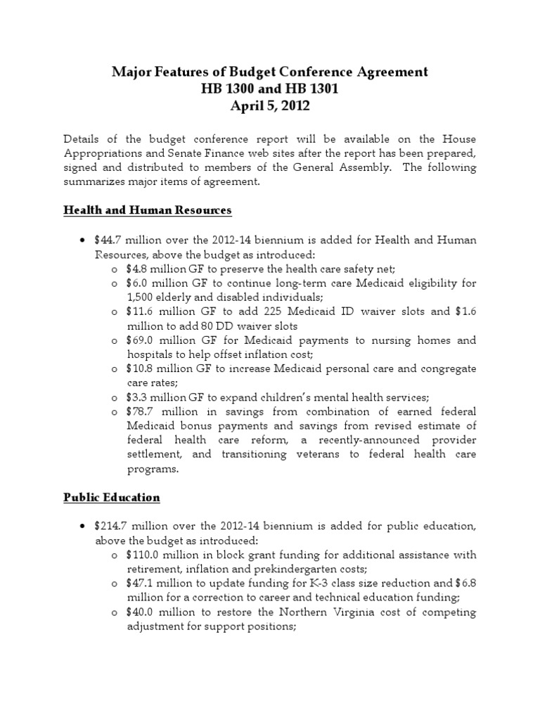 Major Features Of Hb1300 Hb1301 Conference Agreement 040512