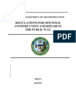 Regulations For Openings, Construction And Repair In The Public Way