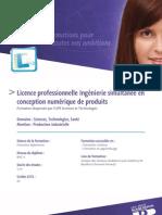 Licence Professionnelle Ingenierie Simultanee en Conception Numerique de Produits (WEBPDF-19117)