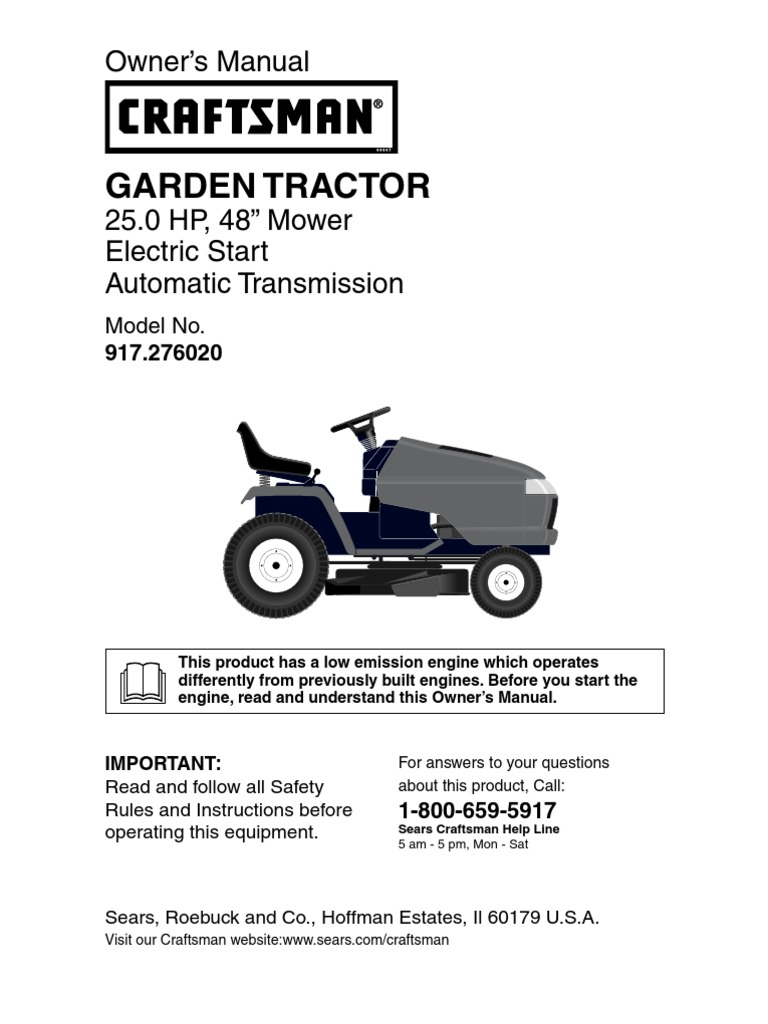 craftsman garden tractor 917 276020 owners manual tractor manual
