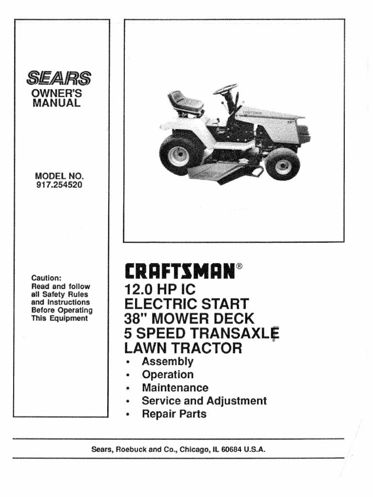 Craftsman Garden Tractor Manual 917254520 Lawn Mower Electric Leaf Blower Wiring Diagram