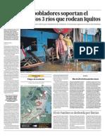 Ríos se desbordan en Amazonía de Iquitos en Perú y afectan a 95,000 personas