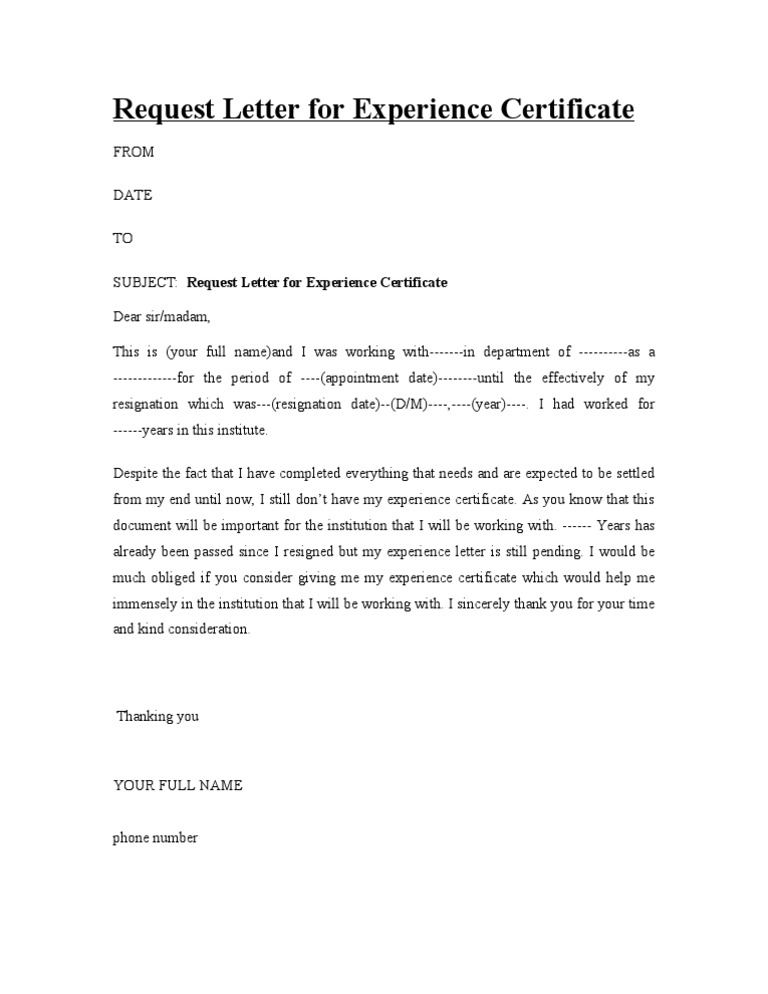 request letter for experience certificate