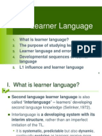 Interlengua or Learner Lenguage