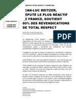 Jean-luc Reitzer, d%c9put%c9 Le Plus r%c9actif de France, Soutient 80%25 Des Revendications de Total Respect