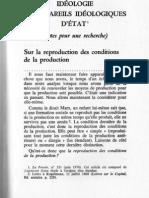 Althusser Idéologie Et Les Appareis Idéologiques d'Etat