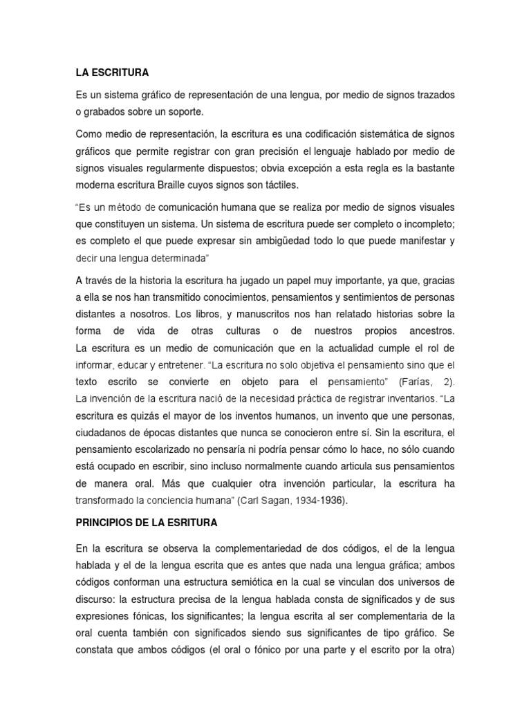 LA ESCRITURA Academica Universitaria
