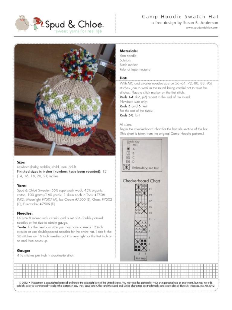 Camp Hoodie Swatch Hat | Knitting | Gauge (Knitting)
