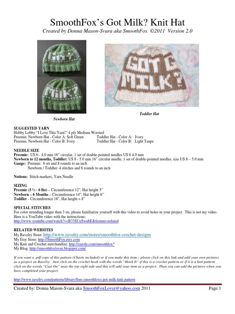 32669d568b75e ... coupon code smoothfox got milk knit hat knitting crochet 0b802 a21f7