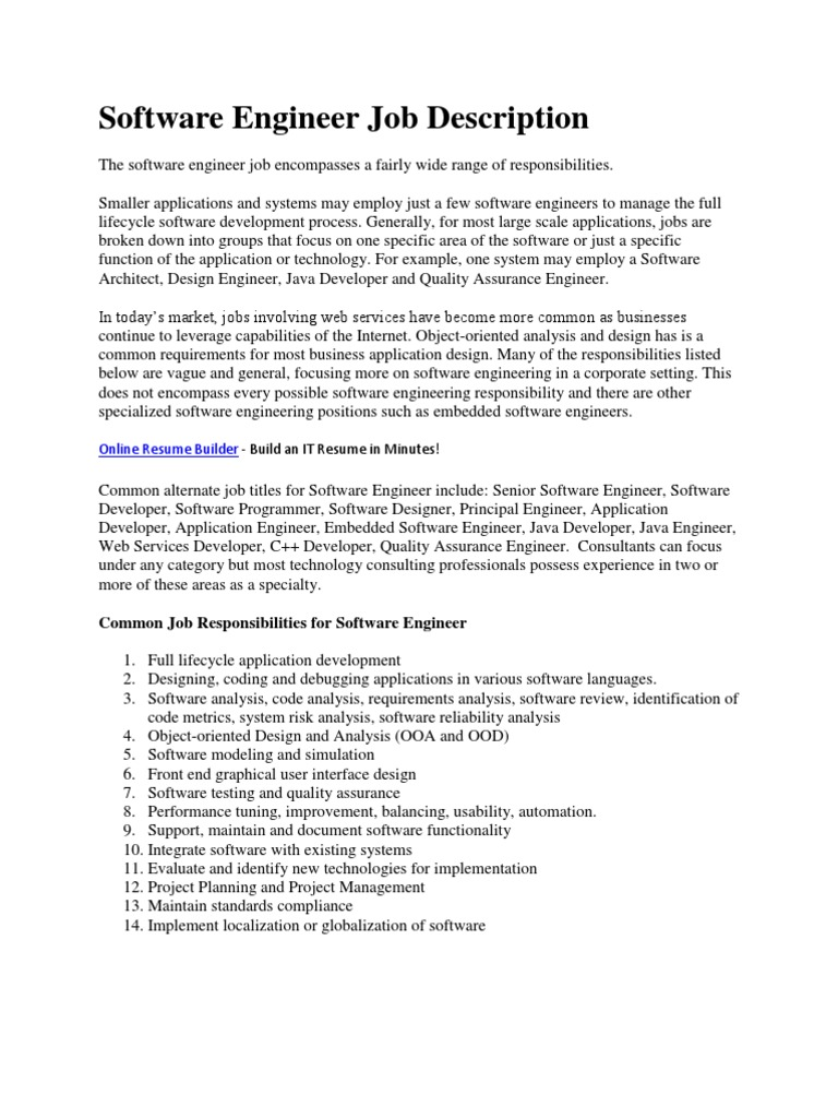 Software Engineer Job Description Programmer Databases