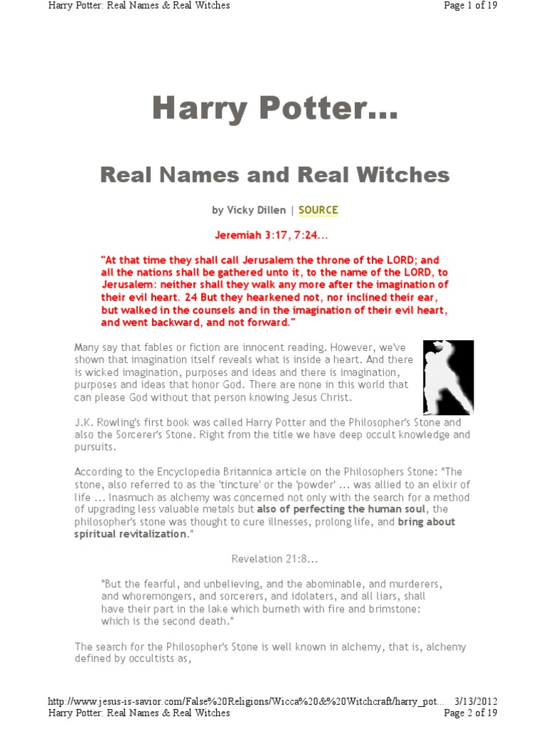 Harry Potter, Real Names & Real Witches | The Hobbit | Alchemy