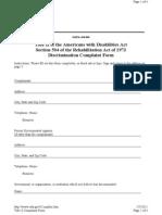 Discrimination Complaint Form - Title II